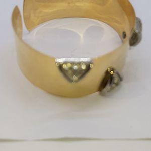 Costume Gold tone wide bangle, white stones